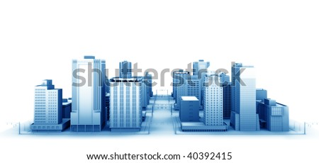 3d illustration of a fictional city. - stock photo