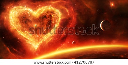3d illustration of a fiery red and orange supernova nebula in heart shape with planets and stars.