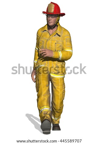 3D illustration of a fireman walking briskly to some chore or emergency.