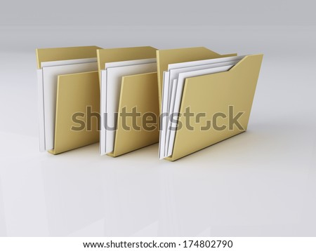 3D Illustration of a Folders with Files - stock photo