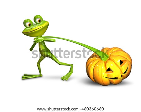 3d illustration of a frog pulling a pumpkin on a white background