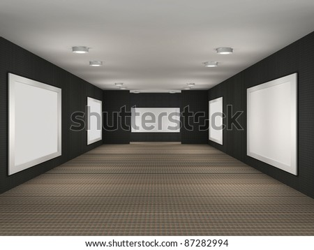 3d illustration of a gallery with frames