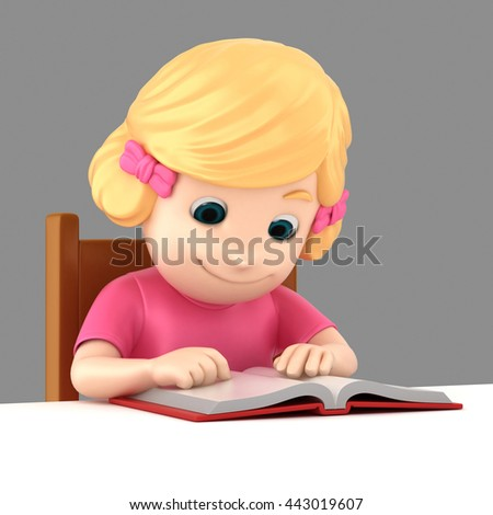 3d illustration of a girl reading