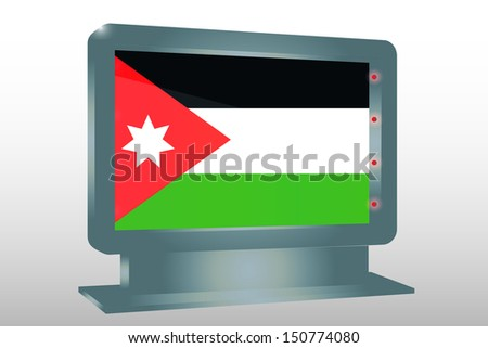 3D Illustration of a Glass Holder isolated with the flag of Jordan - stock photo