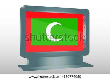 3D Illustration of a Glass Holder isolated with the flag of Maldives - stock photo