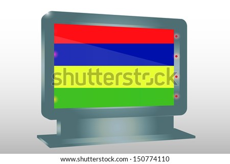 3D Illustration of a Glass Holder isolated with the flag of Mauritius - stock photo
