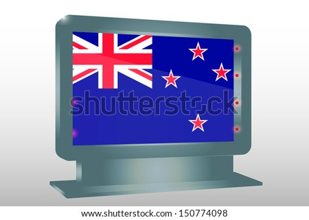 3D Illustration of a Glass Holder isolated with the flag of New Zealand - stock photo