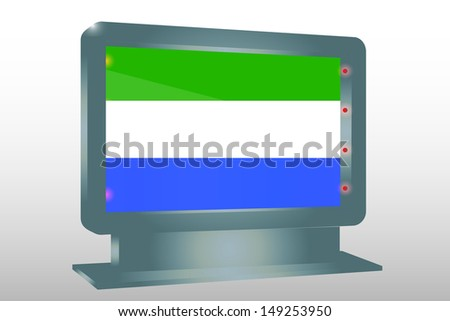 3D Illustration of a Glass Holder isolated with the flag of Sierra Leone - stock photo