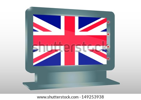 3D Illustration of a Glass Holder isolated with the flag of the United Kingdom - stock photo