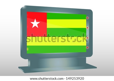 3D Illustration of a Glass Holder isolated with the flag of Togo - stock photo