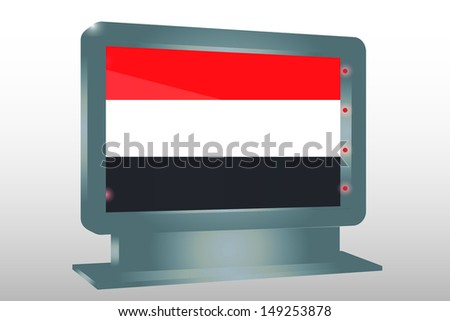 3D Illustration of a Glass Holder isolated with the flag of Yemen - stock photo