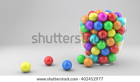 3D illustration of a glass vase with multicolored candies