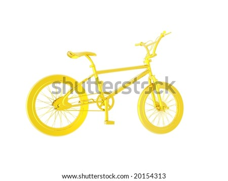 3D illustration of a Gold Bicycle isolated