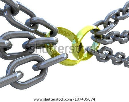 3d illustration of a gold rings stretched chains - stock photo