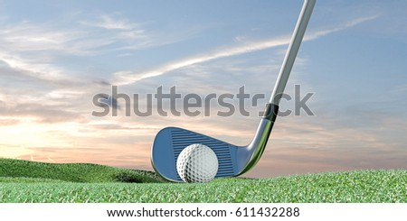 3d illustration of a golf ball on green
