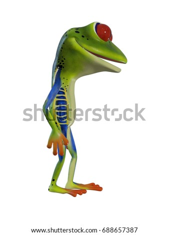3d illustration of a  green cartoon tree  frog standing idle.