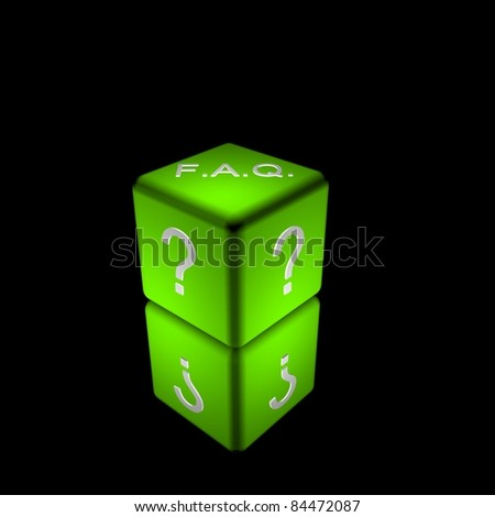 3d illustration of a green cube/dice to represent frequently asked questions