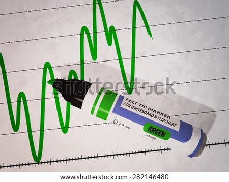 3D illustration of a green felt tip pen laying on curve diagram showing strong variations and a globally trend to increase, referring to concepts such as statistics, presentation meeting and analysis