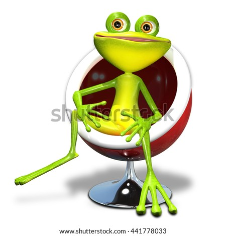 3d illustration of a green frog in a red chair