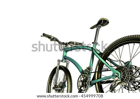 3d illustration of a green mountain bike isolated on white background - stock photo