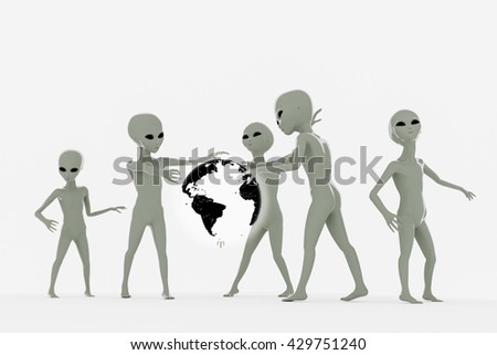 3d illustration of a group of aliens isolated on white background