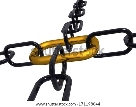 3d illustration of a group of black  end gold chain  isolated on white - stock photo