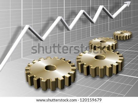 3d illustration of a group of cogs and a chart arrow / Cogs and chart