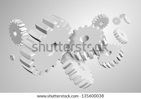 3d illustration of a group of white cogs suspended in the air / Cogs background - stock photo