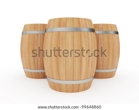 3d illustration of a group of wine barrels isolated on white - stock photo