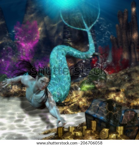3D illustration of a handsome long haired Merman swimming toward a treasure chest filled with gold.  Lots of sea foliage and caustic's all around.