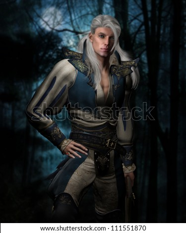 3d illustration of a handsome male with long white hair and blue eyes wearing a medieval swordsman's outfit with tall boots and holding a flintlock pistol.  The background is a dark forest. - stock photo