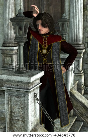 3d illustration of a handsome prince leaning on a lantern outside some castle  - stock photo