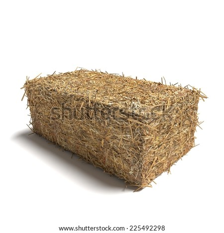 3d illustration of a hay bale rectangle - stock photo
