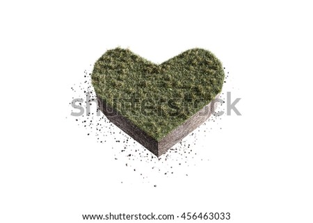 3d illustration of a heart shaped piece of soil isolated on white background