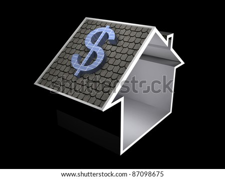 3d illustration of a home symbol with dollar currency solar panel