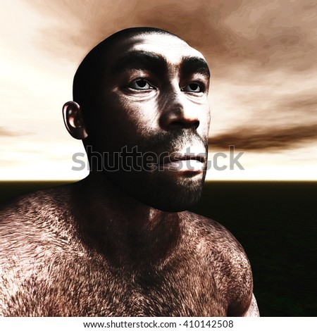 3d Illustration of a Homo Erectus - stock photo