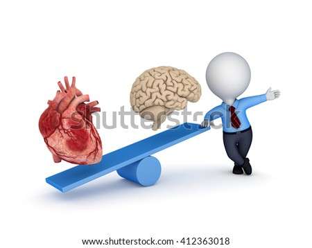 3d illustration of a human heart and brain on a scales. - stock photo