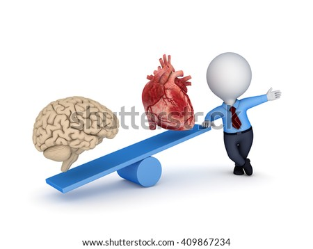3d illustration of a human heart and brain on scales. - stock photo