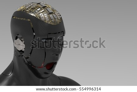 3D Illustration Of A Humanoid Android Robot On A Masked Transparent Background