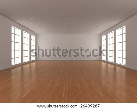 3d illustration of a large, bright, empty room with windows either side. - stock photo