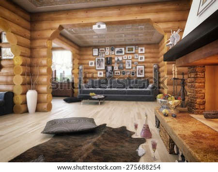 3d illustration of a living room in the house from logs