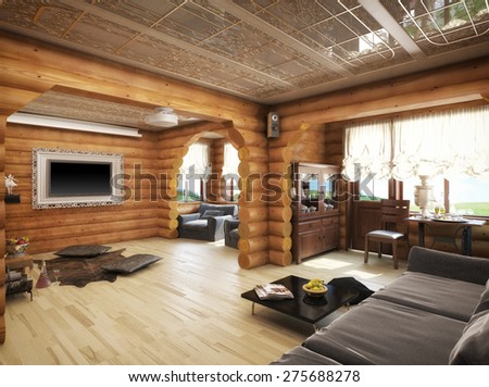 3d illustration of a living room in the house from logs - stock photo