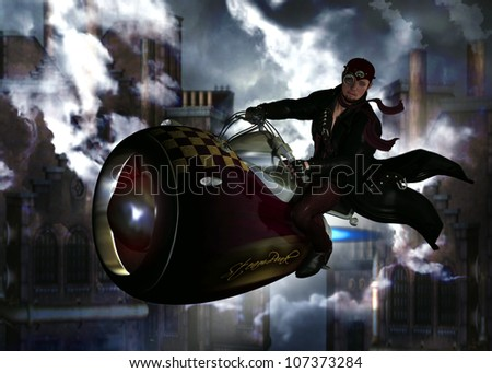 3D illustration of a male aviator wearing a long black leather coat, short gloves, maroon scarf,leather pants and aviator cap with goggles.  The character is riding a mini steam powered jet.