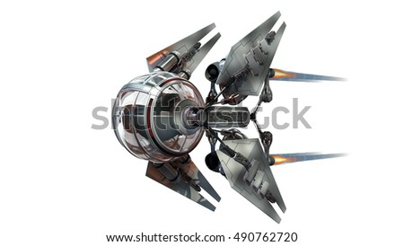 3D Illustration of a manned drone or spacecraft for science fiction themed war games or futuristic space travel, with the clipping path included in the file.