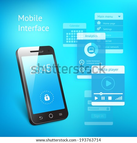 3d illustration of a modern smartphone or mobile phone with a blue screen showing the time and a lock symbol with various elements for the user interface in a communications concept - stock photo