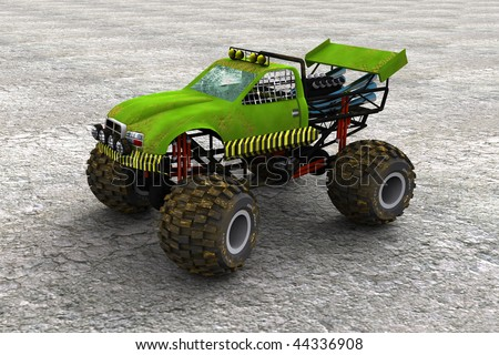 3d illustration of a monster truck - stock photo