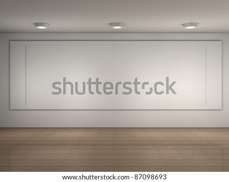 3d illustration of a museum room with big frame