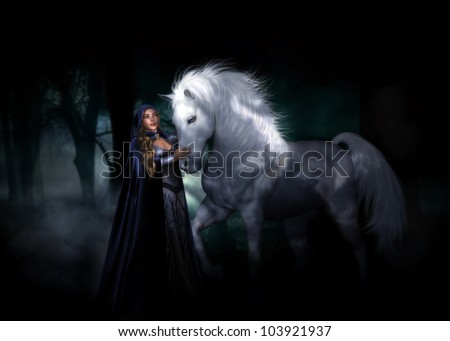 3D illustration of a mysterious female elven character wearing a hooded cloak, with long brown wavy hair standing next to a White Stallion in a dark gloomy forest.