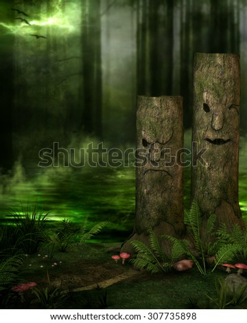 3D illustration of a mysterious forest background.  Tree stumps with faces, mushrooms, ferns and a misty swamp in the background.  Perfect for your rendered characters or photomanipulations.  - stock photo