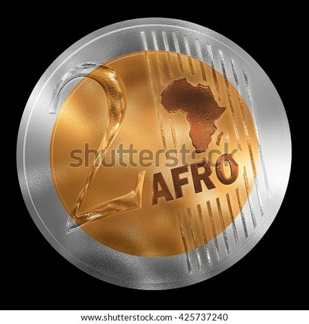 3D illustration of a non-existent coin. Conceptual monetary unit for Africa rendered similar to  European style. No in circulation. Coin value is Two. - stock photo